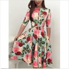 Женское винтажное платье миди с цветочным принтом а силуэт