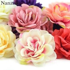 Image 1 - 100Pcs 7 ซม.Roseดอกไม้ประดิษฐ์Roseดอกไม้สำหรับงานแต่งงานตกแต่งDIYพวงหรีดอุปกรณ์เสริมหัตถกรรมปลอมดอกไม้