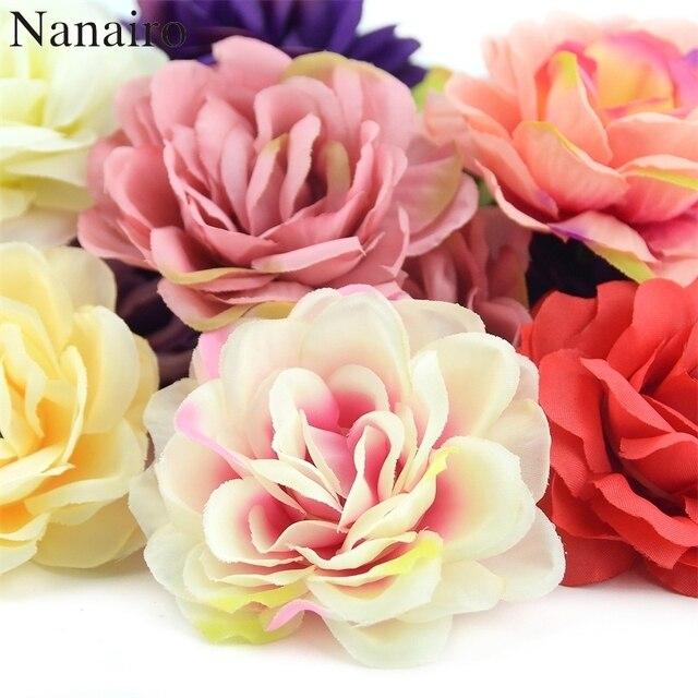 Cabezas de pared de flores rosas de seda Artificial, rosa de 7cm, decoración para el hogar, boda, bricolaje, accesorios de corona, artesanía, flor falsa, 100 Uds.
