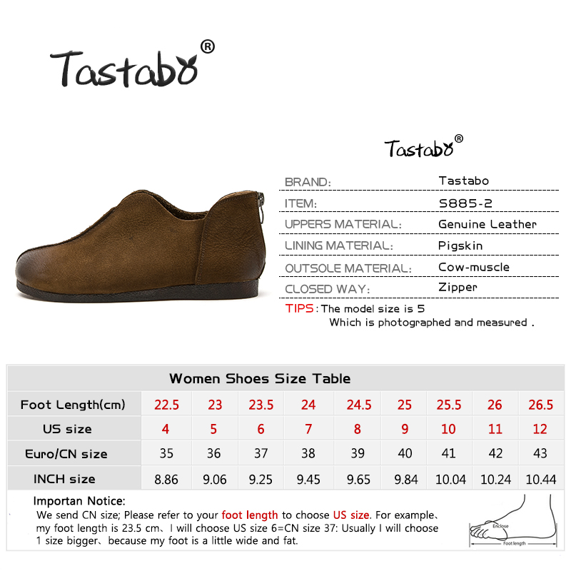 Tastabo Leather women's shoes flat Woman Shoe Handmade Genuine Leather Comfortable Shoes for Women Casual wild Zipper design-in Women's Flats from Shoes    3