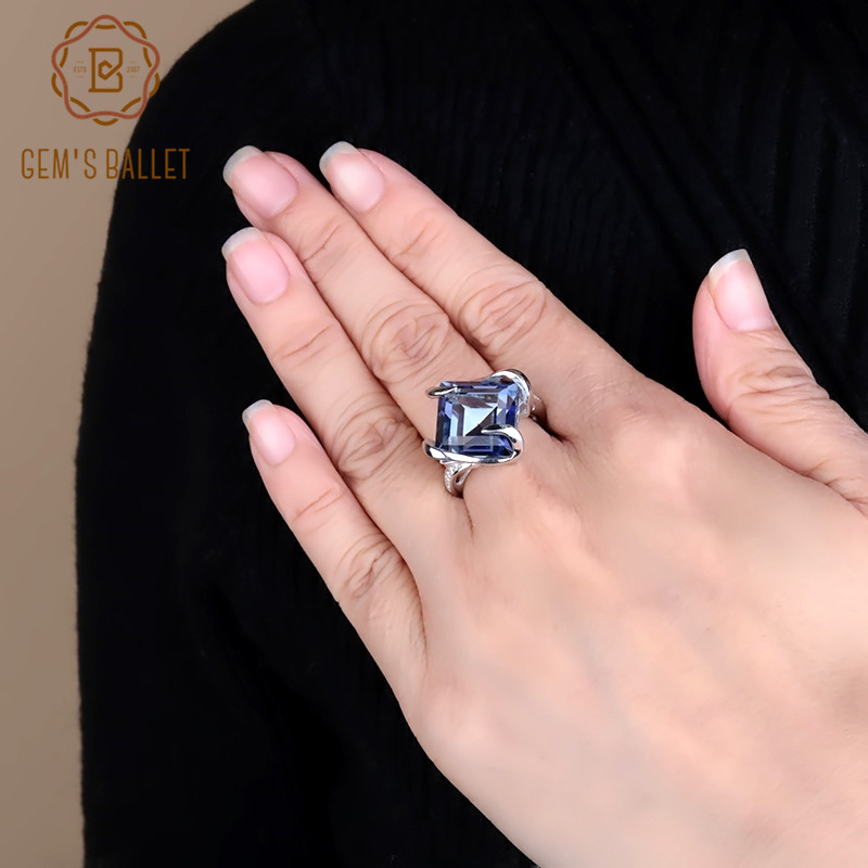 Gem's Ballet New Natural Iolite Blue Mystic Quartz Gemstone Ring 925 Sterling Silver Square Classic Rings For Woman Fine Jewelry