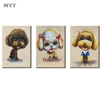 MYT Unframed 3 Panel Handpainted Cute Dog Abstract Modern Wall Art Picture Home Decor Oil Painting