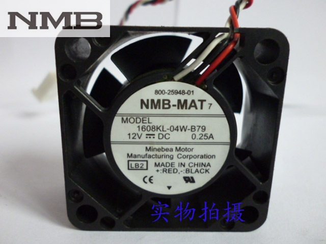 NMB 1608KL-04W-B79 LB2 DC 12V 0.25A Server Cooling Fan Server Square Fan 3-wire 40x40x20mm emacro orix ms14 dc ac 200v 0 1a 140x140x28mm server square fan