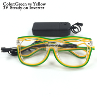 EL Wire Neon Glasses 50pcs LED Sunglasses+3V Steady on Flashing Inverter Light Up Costumes For Glow Party Supplies