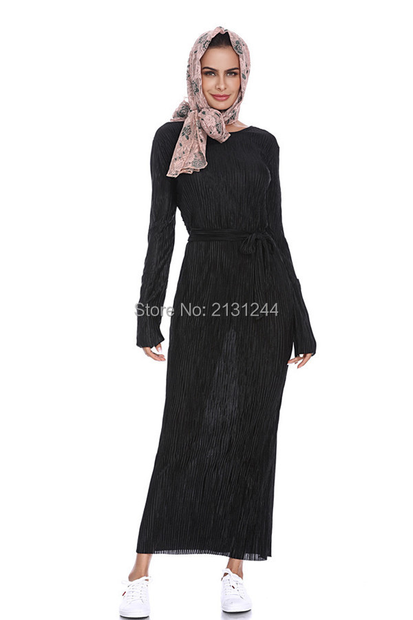 Fashion Pleated Robe Musulmane Turkish Dubai Abaya Muslim Adult Robe Middle East Ramadan Arab Islamic Clothing