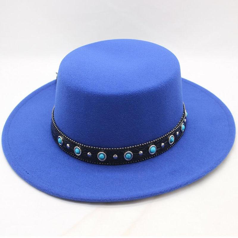 LUCKYLIANJI Retro Vintage 100% Wool Womens Mens Round Top Cap Fedora  Porkpie Pork Pie Bowler Heisenberg Hat ... f00e8a2e5703