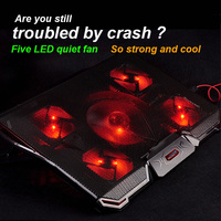 CoolCold 5 Fan Laptop Cooler Cooling Pad Base LED Notebook Cooler Computer USB Fan Stand For