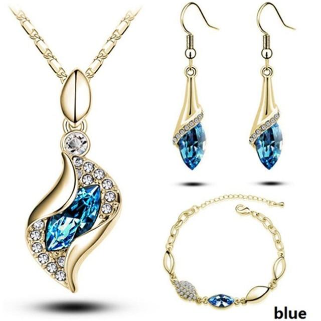 Conjunto de joyería africana para mujer, cuentas de Color dorado y plateado, accesorios para boda, collar de cristal colgante, pendientes, conjunto de anillo 2