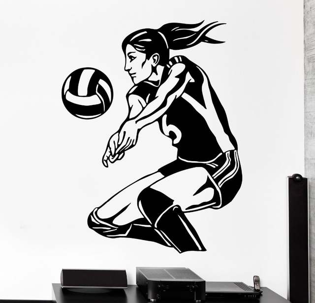 Removable Women s Volleyball Vinyl Wall Stickers Sports Living Room Bedroom  Mural Art Home Decoration Wall Decals dfd1f63c60