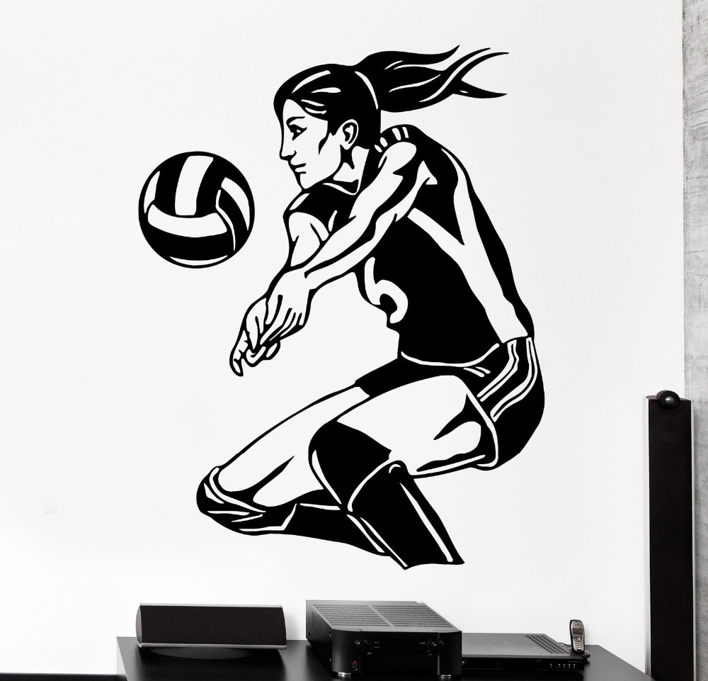 Removable Womens Volleyball Vinyl Wall Stickers Sports Living Room Bedroom Mural Art Home Decoration Wall Decals poster W-1038