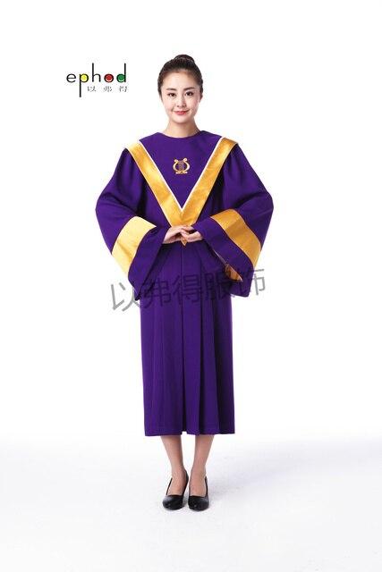 7bf151d416e Vatican style violet et doré baptême chorale église clergé vêtements prêtre  Vestments Pastor Robes église chorale