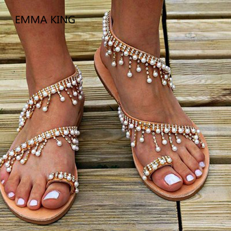 Romain 2019 D'été Picture Gladiateur As Dames Flop Shown Mode Chaussures Bohême Plage In Casual Plat Sandales Flip Femmes Perles Femme Cristal zSapqrz