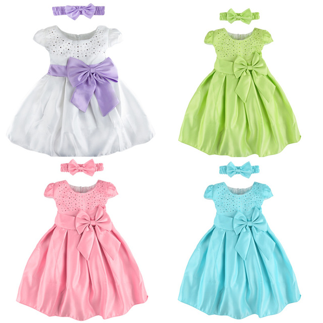 Bébé Filles Robe D'anniversaire Mignon Infantile Vêtements Nouveau-Né Partie Princesse Tutu De Mariage Robes avec bandeau 0-24 m