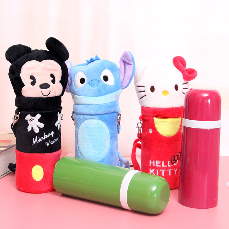 Hello <font><b>Kitty</b></font> Bullet Thermos Bottle termos mug with <font><b>lid</b></font> plush <font><b>cover</b></font> <font><b>Cute</b></font> Stitch Totoro thermos Water Bottle for Childre KIDS gift