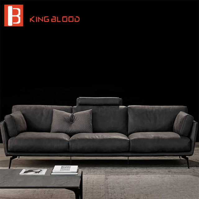 italian modern nubuck leather 3 seater sofa-in Living Room Sofas ...