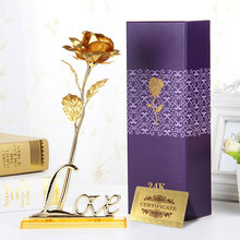 Hot Sale Birthday Wedding 24k Golden Fake flowers Plants For Home Decorative Flowers Artificial Valentine's Day Supplies