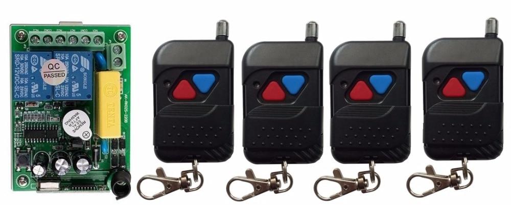 AC220V 2ch Беспроводной Дистанционное управление переключатель Системы teleswitch 1 * приемник + 4 * черный передатчики для Приспособления ворота гара...