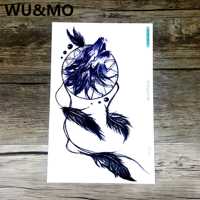 Mc681 19x12cm hd large tattoo sticker indian style wolf feather designs temporary tattoo terrorist stickers flash