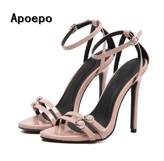 Summer classic high heel shoes 2017 sexy open toe ankle strap leather sandal woman cutouts gladiator sandal beige black hot selling black leather sandal high heel summer open toe chains decorations gladiator sandal woman cutouts thin heels shoes
