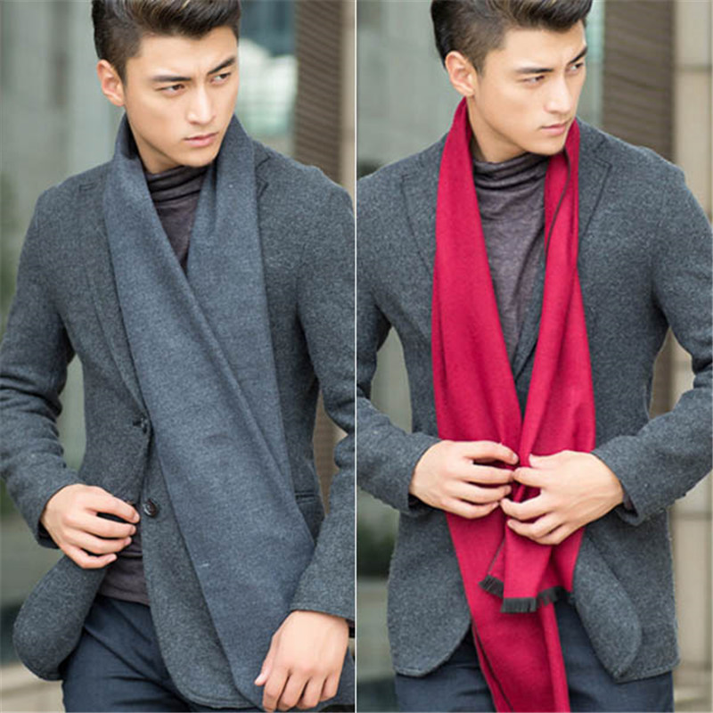 HQ 2017 Autumn New Men Business Solid Color Scarf Winter Warmer High Quality Fashion Shawls Male Trendy Accessories FHJ305