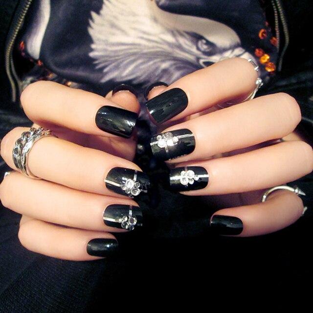24pcsset Ol Style Black Rhinestones False Nails 3d Design Nude Pink