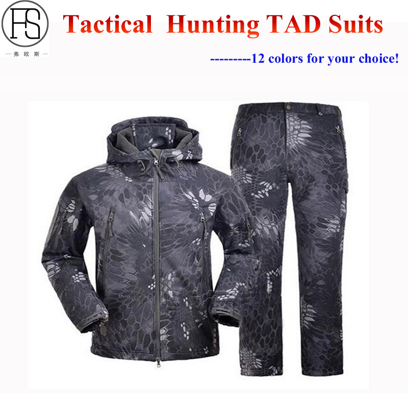 Good ! Tactical Men Sets Outdoor Military Hunting Waterproof Camouflage Suits TAD Sharkskin Jacket + Pants Climbing Hiking Suits fire maple sw28888 outdoor tactical motorcycling wild game abs helmet khaki
