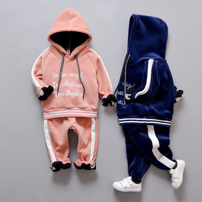 Baby Boy Girl Clothing Set High Qulity Cotton Kids Toddler Pants Clothes Letter Hooded Suit For Boys Children Long Sleeve Autume