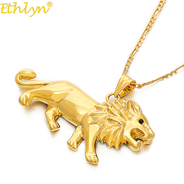 Ethlyn jewelry lion necklacependant for womenmengold color lions ethlyn jewelry lion necklacependant for womenmengold color lions head pendant animal jewelry aloadofball Choice Image
