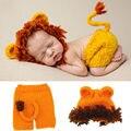 Novo! Estilo Leão Adereços Para A Fotografia Do Bebê 100% Recém-nascidos de Malha Roupas de Crochê Macio Newborn Fotografia Cap Roupas das Crianças