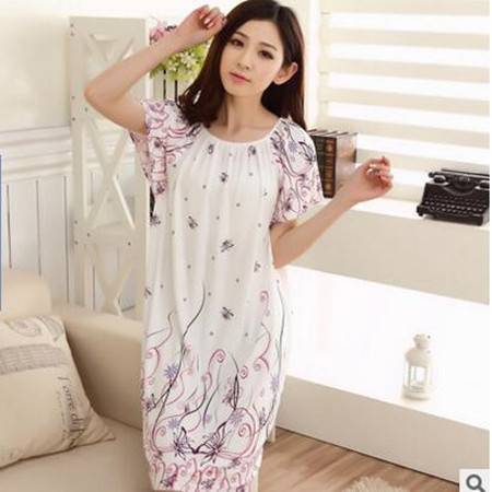 2018 Free Shipping Woman Spring Summer Dress Cotton Nightgown Girl's Soft Sleepshirts Female Sleepwear Plus size Nightgowns XXL 2