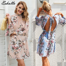 Eskulla Summer New Women Sexy Side Split Backless Dress Off Shoulder Vintage Print Mini Beach Dresses