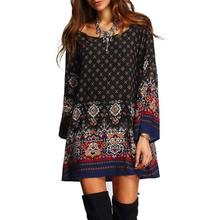 Autumn Women's Bohemian Dresses O-Neck Black Blue Vintage Print Mini Dress Long Sleeve Tunic Ladies Boho Ethnic Beach Vestidos