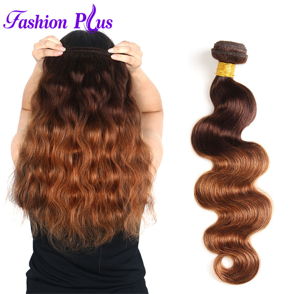 Fashion Plus Ombre Brasilian Hair Body Wave T4 / 30 Human Hair Weave - Menneskehår (hvid) - Foto 4
