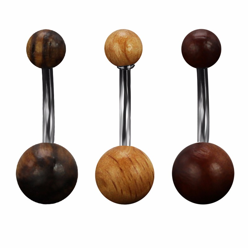 HTB1mpvdNpXXXXXaXpXXq6xXFXXXm Elegant Polished Natural Wood Ball Belly Button Ring For Women - 3 Colors