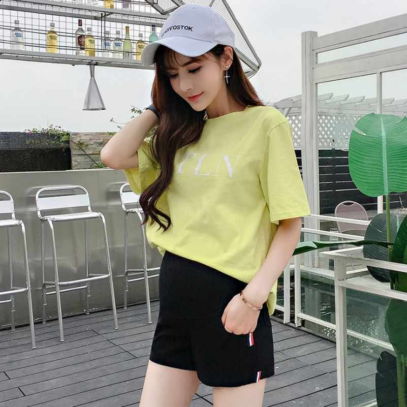 Ice Silk Summer Maternity Shorts Pregnant Women Stomach Pants Fashion Candy Color Three Pants Wear Short Trousers Of Pregnancy