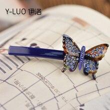 Women headwear vintage hair pin rhinestone clips for girls butterfly accessories women