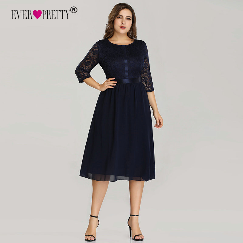 Detail Feedback Questions about Plus Size Short Cocktail Dresses Ever Pretty  EZ07641 Women s Cheap Elegant Navy Blue A line Lace Long Sleeve Winter Party  ... 202d4f91afe2
