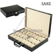 Free Shipping 24 Slots Leather Material Brand Watches Box Top Black Watches Display Box Rectangle Watch Storage Boxes Case 138