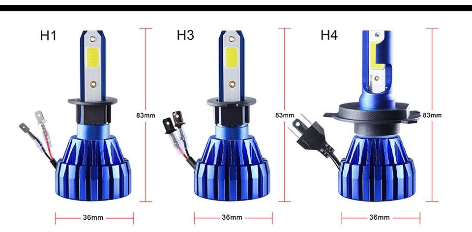 LED H7 H4 LED Car Headlight bulb 3000K 4300K 6500K 8000K H1 H11 H8 9005 9006 HB3 12V COB 5000LM 1860 10000LM 50W Fanless fan (14)