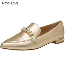 HZXINLIVE New Woman Brand Pointed Toe Leather Shoes Women Casual Fashion  Women Loafers Square hee Polyurethane 402c073b5621