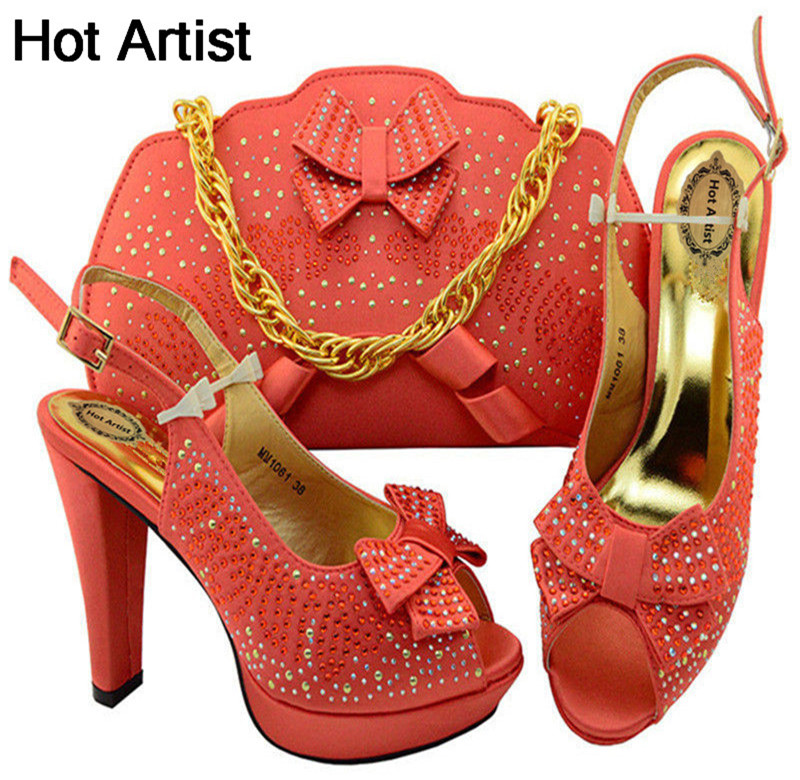 Hot Artist New Arrival African Women High Heels Shoes And Bag For Party Fashion Rhinestone Adult Sandal Pumps Shoes MM1061 doershow new arrival colorful rhinestones design ladies pumps african sandal shoes for party size 37 43 jk1 37