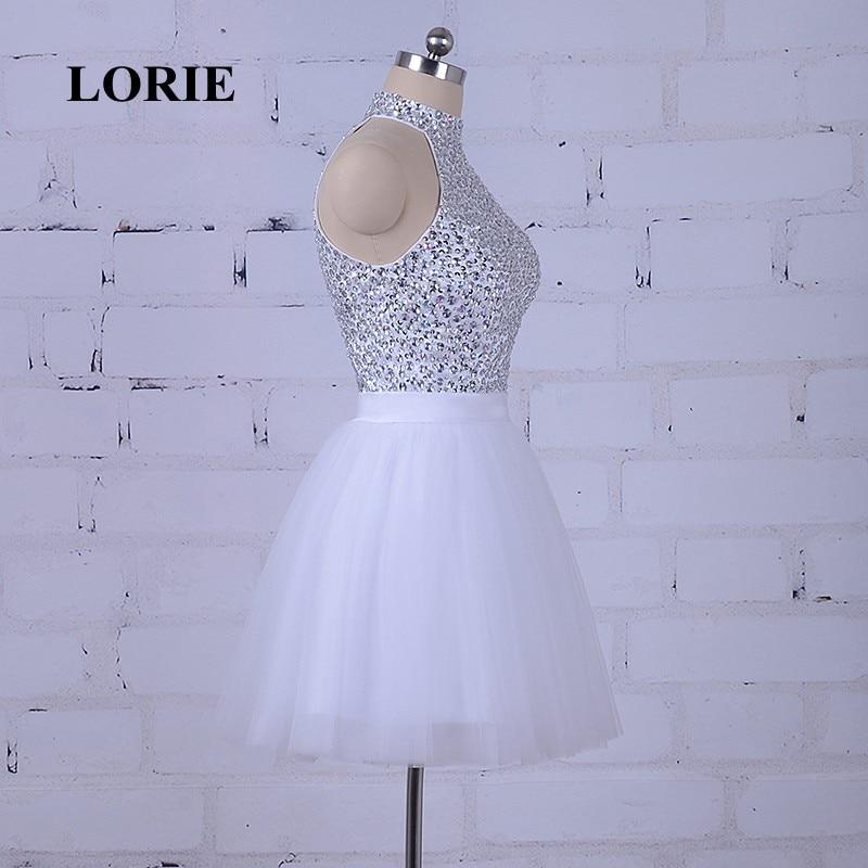 LORIE Hvit Prom Dress For Graduation Halter A-Line Beaded Krystaller - Spesielle anledninger kjoler - Bilde 4