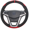 XuJi Red Genuine Leather Black Suede  Car Steering Wheel Cover for Changan CS35 EADO