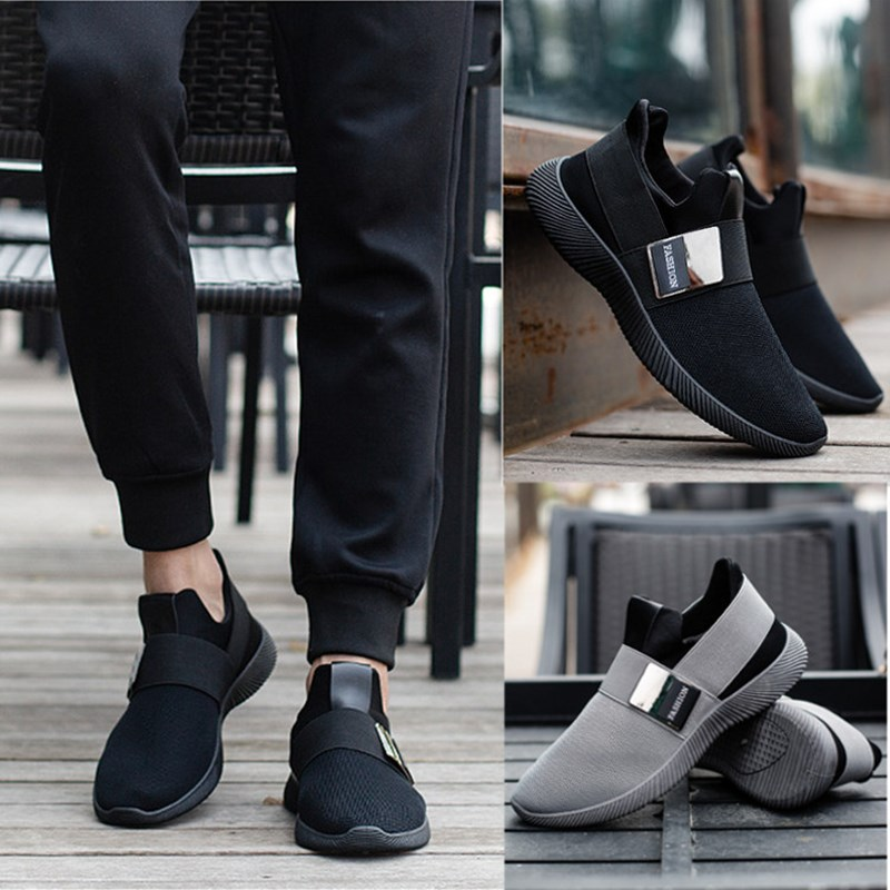 Men's Breathable Mesh Casual Shoes, Summer Super Light Slip-on Flats Shoes, Air Mesh Upper Elastic-Band & Metal Decoration summer sandals women leather breathable mesh outdoor super light flats shoes all match casual shoes aa40140