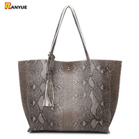 Luxury Snake Pu Leather Shoulder Bags Handbags Women Famous Brands 2017 Big Serpentine Women Bag With