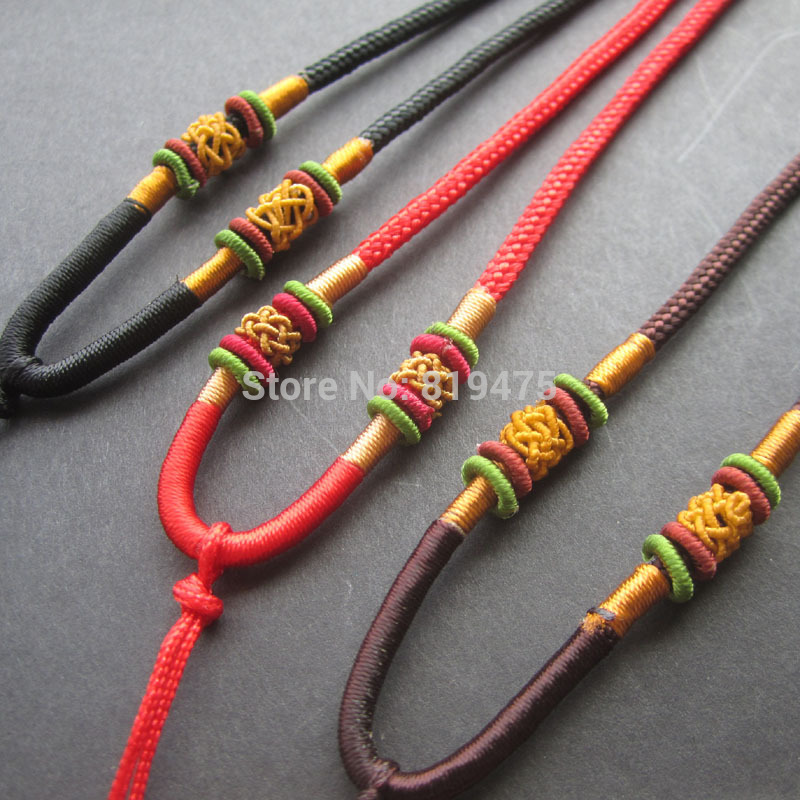 10 шт./лот Китайская традиционная нейлон кулон шнур веревка для Цепочки и ожерелья красный чёрный; коричневый Цвет для Цепочки и ожерелья реш...