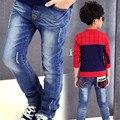 Crianças calças de jeans de 2016 nova primavera de 55 m de modelos de bolso grande calças moda