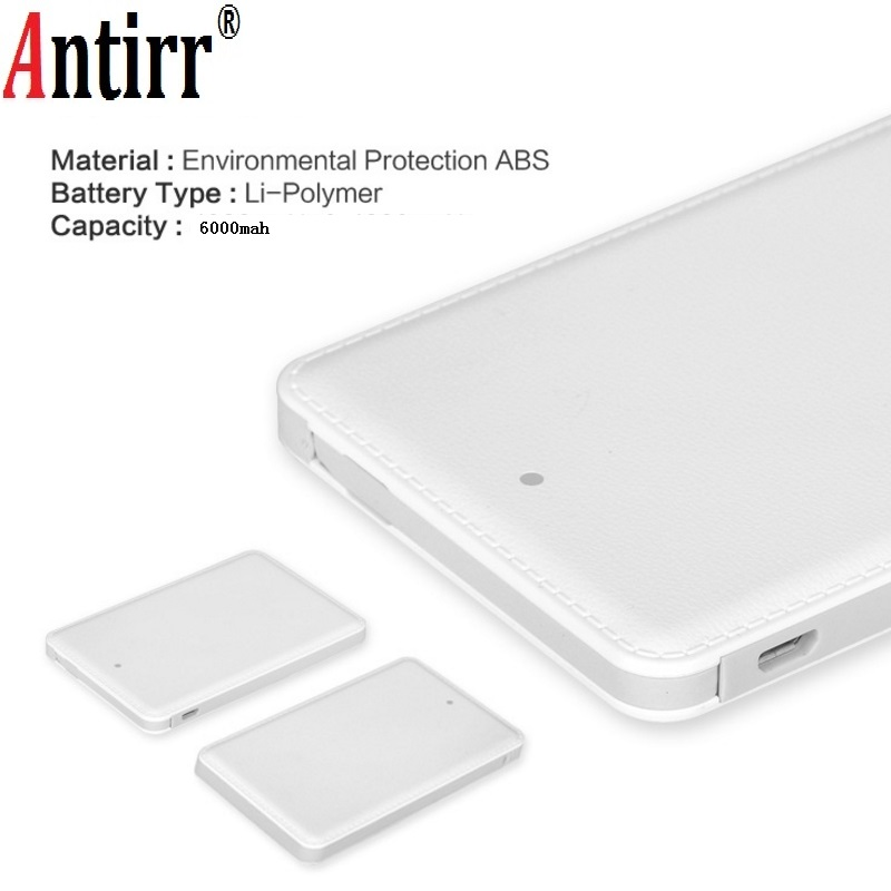 Antirr Portable Mini Ulter Slim Credit Card Wallet Size Power Bank 6000mAh Cell font b Phone