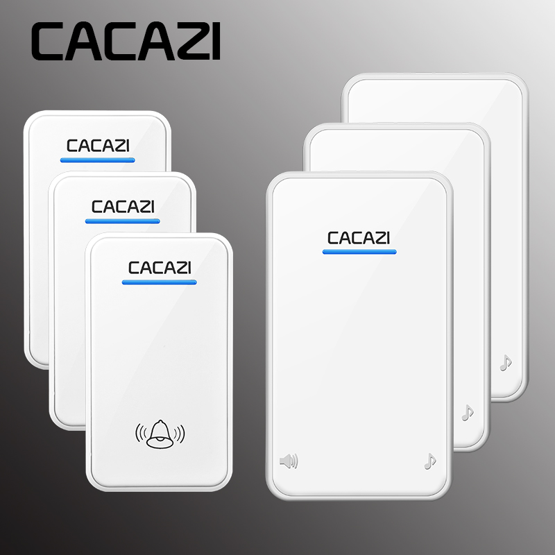 CACAZI Wireless Doorbell AC 110-240V Waterproof 300M Remote 3 Transmitter+3 Receivers Door Chime,48 Melody 6 Volume Door Ring cacazi wireless doorbell 300m remote 3 waterproof ip44 transmitters 4 ac plug in receivers door bell 48 chime 6 volume door ring