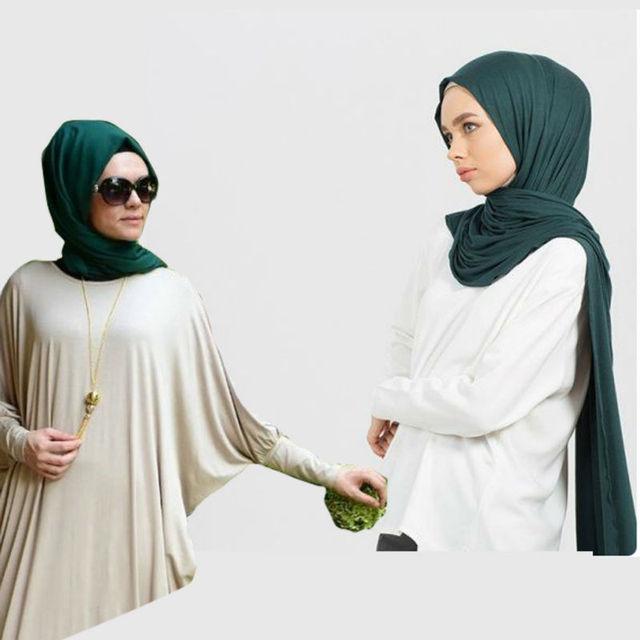 Muslim Casual Hijab Jersey Long Shawl Head ScarF Dubai Arab Islamic Product Women Modal Wrap Lycra Turban Royal Blue Bandana